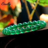 Ágata verde de piedra, la piedra preciosa de piedra pulsera de la manera semi-PreciousGreen Onyx cuentas de piedras preciosas brazaletes de la joyería del partido de las mujeres Regalo de Navidad