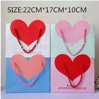 Cheap 12PCS LOT SIZE:220MM *170MM VALENTINE'S DAY PAPER GIFT BAGS WITH HANDLES