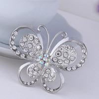 bag brooches - New Fashion Alloy Silver Butterfly Rhinestone Brooch Crystal Women Brooches Jewelry Accessories Women Bag Decoration