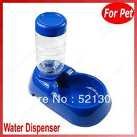 Cheap Free Shipping Pet Dog Cat Automatic Water Dispenser Food Dish Bowl Feeder Blue New