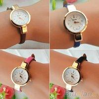 Wholesale Women Ladies Candy Color Fashion Thin Leather Strap Quartz Bracelet Wrist Watch For hot sale