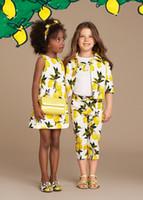 Wholesale Wl Monsoon Princess Dress Girl Summer Sleeveless Girls Dress Children Clothing Lemon Pattern Fashion Kids Clothes Party Girls Dresses