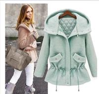 Wholesale 2014 Autmn New Women Fashion Wool Coats Long Sleeve Removable Hood Thicken Woolen Coats Plus Size Lady Casual Outerwear C588A9S