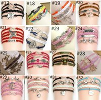 anchor charms - 44 styles bracelet leather charm bracelets for women and men Anchor cross owl Branch love bird believe