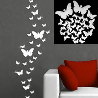 wing mirror - 3 Sizes Home Decor Butterfly Big Wings Mirrors Decorative Wall Decal Wall Sticker Silver