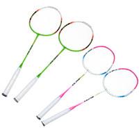 Wholesale 2Pcs Carbon Fiber Aluminum Alloy Training Badminton Rackets Badminton Racquet with Carry Bag Sport Equipment