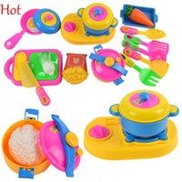 Wholesale 17pcs Children Pretend Play Toys Small Cook Chef Kitchenware Simulation Kitchen Utensils Toys Baby Children Early Educational Tool Toy