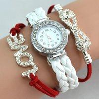 Wholesale Fashion Weave Bracelet Watches Wrap Watches Diamonds Love Leather Wrist Watches Women Quartz Watches Round Case Drop