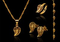 gold jewelry - bridesmaids jewelry new stylish and elegant suits leaf necklace earring ring family of four gold plated bracelet jewelry hot sales