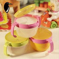 Wholesale anti spill design baby double handle pot snack cup baby girls boys dishes biscuit snack bowl feeding cup