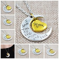 pendant - Mom Gift Charm Family Personal I LOVE YOU TO THE MOON AND BACK Moon Pendant Necklace
