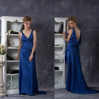 Wholesale Rea Image Custom New Cheap Royal Blue V Neck Chiffon Bridesmaid Dress Backless Bridesmaid Dresses Formal Dress Floor Length