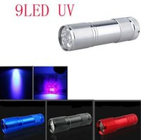 Cheap 9LED UV Light LED Flashlight 395-400nm LED UV Flashlight LED Torch Aluminum Flashlight AAA battery Torch Ultra Violet Lamp portable lighting