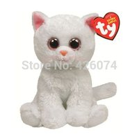 big eyed cats - New Original TY Beanie Babies Big Eyed White Cat Plush Toys Kawaii Stuffed Toys For Children Gifts Kids Toys CM