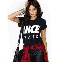 Cheap EAST KNITTING New 2015 Summer T shirt O-Neck Letter Nice Hair Printed Women Casual Tops Women Clothing Black Punk T-shirt