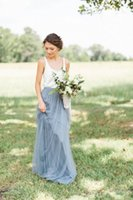 aline bridesmaid dress - 2016 Gray Blue Long Tulle Skirts For Bridesmaid Aline Floor Length Custom Made Wedding Party Dresses Casual Country Skirts For Women