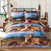 Wholesale New Home Textiles Bedclothes Luxury D Printed Bedding Set Lion Pattern Queen Size Duvet Cover Bed Sheet Pillowcases set order lt no