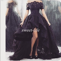 Wholesale 2015 Arabic Black Lace Prom Dresses High Low Off Shoulder with Short Sleeve Ruffle Sheer Neck Tulle Vintage Party Gowns Formal Evening Dress
