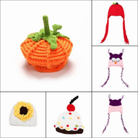 Wholesale Baby Infant Velvet Handmade Knit Beanie Caps Newborn Crochet Hats Photography Props Cosplay Style Choose XDT