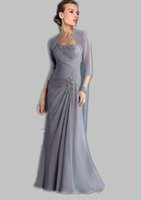 Wholesale 2015 Free Jacket Two Pieces Gray Mother of the bride dresses Dress Plus size Applique Lace Sheath Chiffon Sequins Evening Formal Prom Gowns