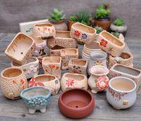 ceramic flower pots - Ceramic flower implement mini bonsai POTS fleshy meat more nostalgic retro creative manual Korean plants flower pot