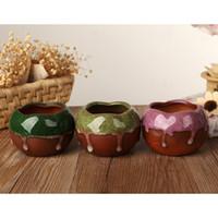 Wholesale Tao Qu explosion models Binglie glaze pots succulents multicolor creative mini potted flower pot