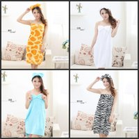 Cheap Sexy Robes Cute Sleepwear Sleeveles Cartoon Lingerie Flannel Wrapped Bra Bath towel With Bow Fit Spring Autumn Skirt Clothes For Woman Lady