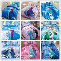 Cheap Wholesale-Brand new cotton Frozen bedding set Alsa Anna single twin full queen king bed clothes duvet comforter cover sheet pillowcase 4pc
