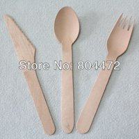 Wholesale 200sets Eco Friendly Disposable Wooden Cutlery Flatware Sets Pack cm Natural birch wood