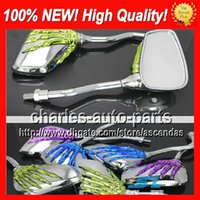 chrome green - 10 Pairs colors Motorcycle Chrome Mirror Rear view Mirrors Rearview side mirror green Skeleton Ghost Hand Mirror Skull Mirrors No