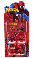 Wholesale 2014 New arrival Cartoon Spiderman Children s cartoon stationery stamper set Children s toy great gift set Stamps stamp pad ink gmy