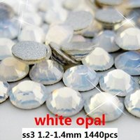 Wholesale Rinestones for nails ss3 mm white opal flat back non hotfix glue on rhinestones