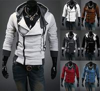 al por mayor xs espesantes capa de la chaqueta-La chaqueta 2017AutumnMen con estilo del invierno espesa la capa para las camisetas de los hombres Fit el algodón delgado de la cremallera del algodón del cierre relámpago de la mezcla rebordea el color US Tamaño XS-2XL
