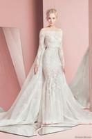 al por mayor vestidos de encaje de zuhair murad-Vestidos de boda desmontables del cordón del tren de la manga larga 2016 vestidos de boda del murad del zuhair vestidos nupciales sin tirantes del neckline del amor