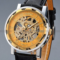 skeleton watches - Luxury WINNER Transparent Silver Stainless Steel Case Skeleton Men s Leather Strap Dress Mechanical Hand Wind Watch PMW029
