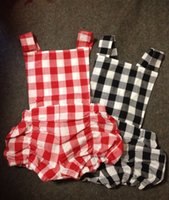 Wholesale new summer baby girls boys red black plaid print cute bodysuit jumpsuit