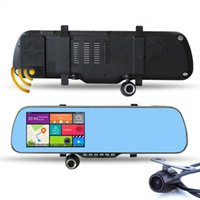 "Cheap 5.0"" Touch Android Rearview Mirror WiFi Car GPS Navigation 1080P Car DVR Dual Camera Rear view FM Truck vehicle GPS Navigator"
