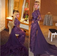 Wholesale Long Applique Panel Evening Gown - Panel Train 2016 Evening Dresses Gorgeous Lace Beading Formal Long Prom Gowns With Long Sleeves Sheath Body Chiffon Party Gowns