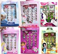 kids rings - 6 boxes Cartoon Hello kitty Princess Frozen Elsa Tinker Bell My Little Pony Dora Children Plastic Rings kid ring Brand New