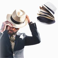 black mens hats - Straw Fedoras Hats for Men Panama Fedora Color Summer Style Beach Sun Jazz Mens Hat Black Ribbon Cowboy Cap