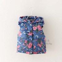 Wholesale Korean Girls Waistcoat Autumn Winter Children Clothes Padding Cotton Hoodie Flower Print Sleeveless Overcoat Girl Jacket Blue K1851