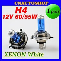 Wholesale 1 Pair H4 V W Halogen Lamp Xenon Bright Dark Blue Glass Stainless Steel Base Auto Super White Car Fog Bulb order lt no
