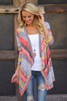 cardigans women - New Arrivals Women Lady Knitted Cardigan Sweater Outwear Cotton Blend Sleeve Stripe Loose Fashion
