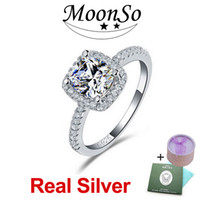 genuine diamond ring - MOONSO Sterling Silver Wedding Rings Two Gifts CZ Diamond for Women Engagement Jewelry Real Pure Genuine silver ZR820S