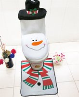Wholesale Snowman Santa Toilet Set Including Top Quality Seat Cover And Rug And Tissue Box Cover