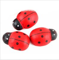 Wholesale 10 Mini Wooden Ladybug Self Adhesive Stickers Decoration Cute Fridge Stickers For Scrapbooking cm x cm x cm