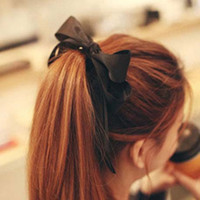 Cheap 2015 Hair Accessories Ribbon Bowknot Elastic Hair Band for Women Women Satin Ribbon Bow Hair Band Rope Scrunchie Ponytail Holder C6937