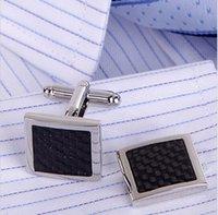 Wholesale Fashion Silver Jewellery Carbon Fiber Wedding Cufflinks For Men High Quality Cuff Links