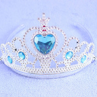 achat en gros de accessoires coeurs queen-Enfants Bijoux congelés Accessoires Enfants Plastic Snow Queen Couronne Elsa Anna Coeur Tiaras Fille Princess Party Hair Sticks Épingles Bows Cheveux