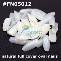 Wholesale 500 Oval natural french nail art fullwell fake tips full cover acrylic nails Retail
